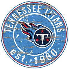 Tennessee Titans Round Distressed Sign