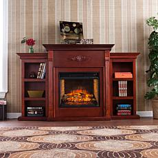 Tennyson Electric Fireplace with Bookcases - Classic Mahogany