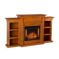 Tennyson Electric Fireplace with Bookcases - Glazed Pine