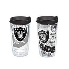 Tervis NFL 16 oz All Over and Genuine Tumbler Set - Oakland Raiders