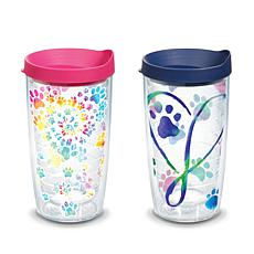 Tervis Project Paws Tie Dye Paw Heart 16 oz Tumbler with lid and Do...