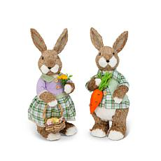 "The Gerson Company 17""H Handmade Easter Bunny Figurines Set of 2"