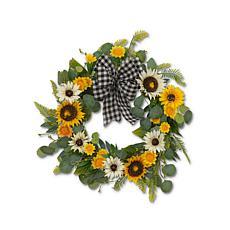 """The Gerson Company 22""""D Sunflower & Eucalyptus Wreath"""