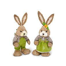 "The Gerson Company 23.5""H Handmade Easter Bunny Figurines 2-pack"