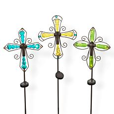 """The Gerson Company 42.3""""H Solar Lighted Cross Stakes 3-pack"""
