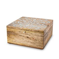 The Gerson Company Mango Wood with Metal Inlay Heritage Lidded Box