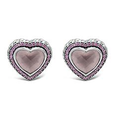 Tiffany Kay Studio Rose Quartz and Gem Purl Knit Heart Stud Earrings