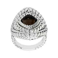 Tiffany Kay Studio Sterling Silver Smoky Quartz Herringbone Ring
