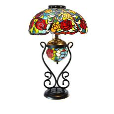Tiffany-Style Rose Blossom Double Lit Table Lamp