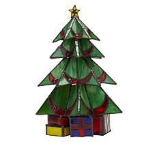 "Tiffany-Style Stained Glass Christmas Tree 10"" Accent Lamp"