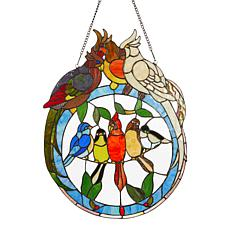 Tiffany-Style Tropical Birds Stained Glass Window Panel