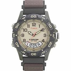 Timex Men's Expedition Analog-Digital Chrono Brown Nylon Strap Watch