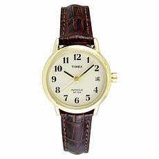Timex Women's Goldtone EZ-Reader Brown Leather Strap Watch