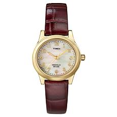 Timex Women's Mother-of-Pearl Dial Classic Brown Leather Strap Watch