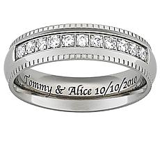 Titanium CZ Beaded Engraved Band