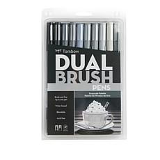 Tombow Dual Brush Pen 10-pack - Grayscale