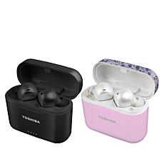 Toshiba Air Pro 2 Wireless Earbuds 2-pack with Wireless Charging Cases