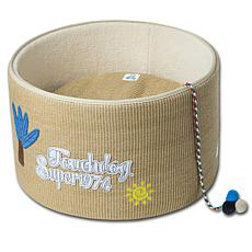Touchcat Claw-ver Nest Rounded Scratching Cat Bed with Teaser Toy
