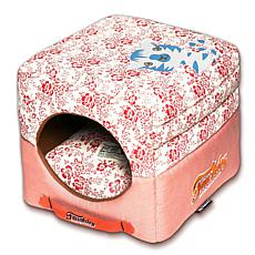Touchdog Floral Convertible Square 2-in-1 Collapsible Dog House Bed