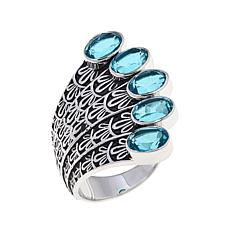 "Traveler's Journey 5ctw Blue Quartz ""Peacock"" Ring"