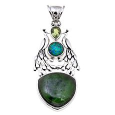 Traveler's Journey Green Gemstone Peacock Pendant