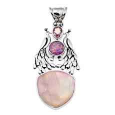 Traveler's Journey Pink Gemstone Peacock Pendant