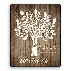 Tree Of Love Personalized 16x20 Brown Canvas