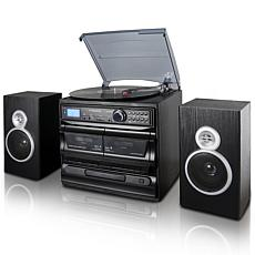Trexonic 8-in-1 Black 3-Speed Turntable Stereo System w/ Recording