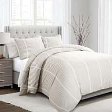 Triangle Home Fashions Drew Duvet Cover Taupe 3pc Set - Full/Queen