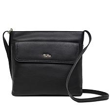 Tula England Medium Zip-Top Grainy Leather Crossbody Bag