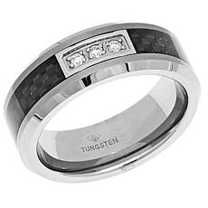 Tungsten & Carbon Fiber Diamond-Accent 8mm Wedding Band
