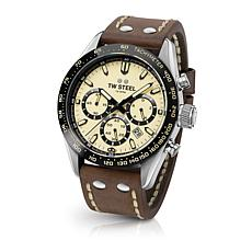 "TW Steel ""Tech Sport"" Cream Dial Leather Strap Chronograph Watch"