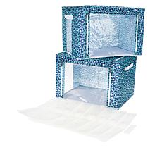 Two Large Collapsible Bins with 6 Vacuum Bags