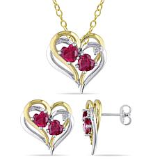 Two-Tone Created Ruby & Diamond Heart Necklace & Earrings