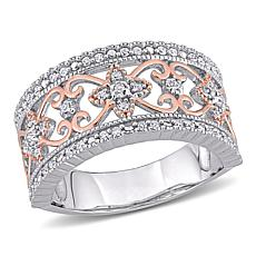 Two-Tone Sterling Silver 0.25ctw Diamond Vintage Ring