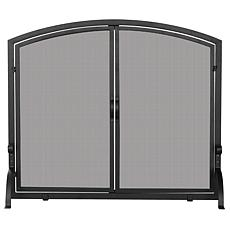 Uniflame Medium Wrought Iron Single-Panel Fireplace Screen with Doors
