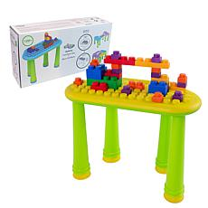UNiPLAY Soft Building Table with 25-Piece Building Blocks - Yellow