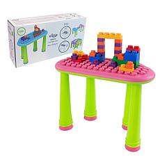 UNiPLAY Soft Building Table with 25-Piece Building Blocks - Pink