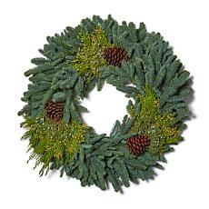 """Van Zyverden Fresh Cut 20"""" Pacific Northwest Mixed Wreath w/Pine Cones"""