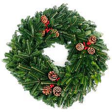 """Van Zyverden Fresh Cut 24"""" Fraser Fir Wreath with Pine Cones & Berries"""