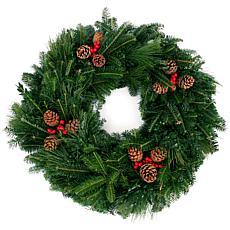 """Van Zyverden Fresh Cut 24"""" Mixed Wreath with Pine Cones and Berries"""