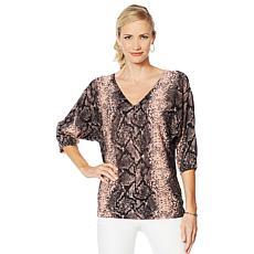 Vanessa Williams Safari Double V-Neck Lace Detail Sweater