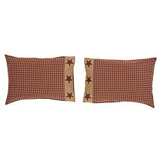 VHC Brands Ninepatch Star Applique Border Pillow Case Set
