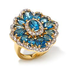 Victoria Wieck 11.96ctw London Blue Topaz Vermeil Ring
