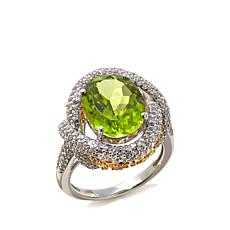 Victoria Wieck 6.50ctw Peridot and White Zircon Ring