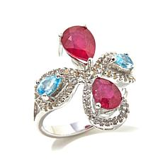 Victoria Wieck Swiss Blue and White Topaz and Ruby Ring