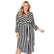 Vince Camuto Bold Stripe Tie-Front Shirt Dress