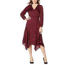 Vince Camuto Drifting Petals Hammered Satin Wrap Dress