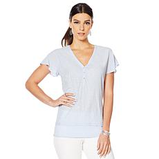 Vince Camuto Flutter-Sleeve Mixed-Media Top