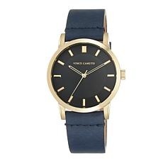 Vince Camuto Men's Goldtone and Navy Blue Leather Strap Watch